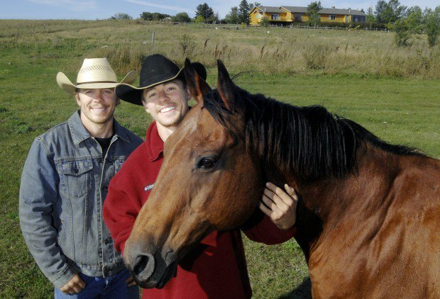 Bismarck Tribune - Sept. 19th, 2010 - MIKE McCLEARY/Tribune Brothers Jay, left, and Jeremy Doan began operating a guest ranch on the family ranch south of McKenzie and have utilized North Dakota Tourism Department's help to promote their Rolling Plains Ad