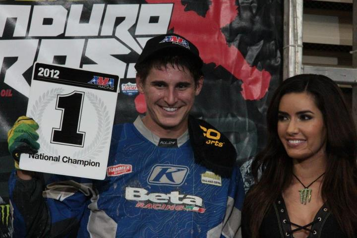 Motorsports Max was all smiles after his first Pro Class main event final . Getting in and racing that final secured the E3 Spark Plugs Junior EnduroCross AMA Championship (reserved for racers under 21 years of age).