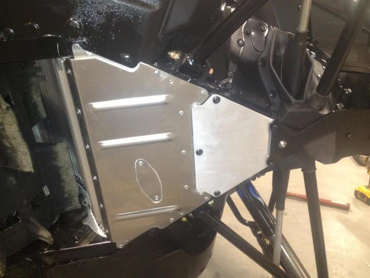 Motorsports Racewerx front bumper and skid plate setup installed