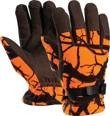 Hunting These gloves are packed full of features for the gear-savvy deer hunter. First, the Dry-Plus inserts make them waterproof and breathable. The brushed-tricot fabric makes them as comfortable as they're quiet. The nubuck palms, fingers and backs of the fingers are waterproof. 100-gram Thinsulate Insulation on the palms and 200-gram on the backs. Elastic wrists. Cinch straps. Precurved fingers. Imported.Sizes: M-2XL.Camo patterns: Blaze Orange, Blaze Horizon. - $17.88
