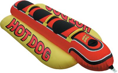 Wake At 8-1/2 feet long x 44 wide with room for three riders, theres nothing weenie about this giant towable hot dog. Each riding position includes deluxe nylon-wrapped handles with neoprene knuckle guards and neoprene seat pads for comfort and a safe, secure grip. Kwik-Connects make it simple to securely attach a tow rope. The three 30-gauge vinyl air chambers are fully covered in high-density 840-denier nylon. The Airhead SuperValve makes inflating and deflating quick and easy. Available: Double Dog (Two person) 76L x 44W Hot Dog (Three person) 102L x 44W Jumbo Dog (Five person) 150L x 44W - $179.99