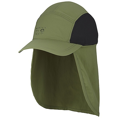 Mountain Hardwear Cooling Ravi Flap Cap DECENT FEATURES of the Mountain Hardwear Cooling Ravi Flap Cap Cool Q Zero provides an immediate and ongoing cooling sensation Brushed stretch nylon fabric with a soft, cottonlike hand and a wicking fi nish Adjustable drawcord headband Neck gaiter provides protection from the sun The SPECS Average Weight: 3 oz / 92 g Body: Summit Stretch plainweave (93% nylon, 7% elastane) Panel: Cool .Q Zero Stretch Softie Jersey (92% polyester, 8% elastane) - $37.95
