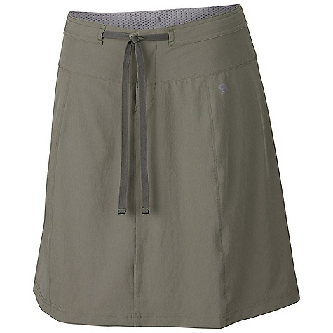 Free Shipping. Mountain Hardwear Women's Yuma Trekkin Skirt DECENT FEATURES of the Mountain Hardwear Women's Yuma Trekkin Skirt Micro-Chamois-lined seamless conical waist for comfort under a pack Soft drawcord at waist for easy fit adjustments Durable, 4-way stretch fabric for movement DWR finish repels water The SPECS Average Weight: 6 oz / 158 g Outseam: 21in. / 53 cm Body: Switchback ii Softshell (88% nylon, 12% elastane) Lining: Brushed Mesh lining (100% polyester - $64.95