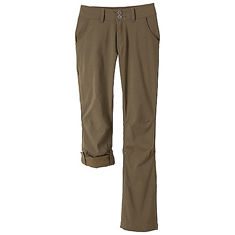 The Prana Women's Halle Pant is a stretch hiking pant for getting into the outdoors. Stretch 'Zion' fabric is a nylon/spandex blend that wicks moisture from the body while also providing water resistance against unexpected light rains. Tie on your hiking boots and spend your time on the trail and the articulated knees keep movement easy and simple. If the heat starts to get to you, roll up the leg and snap the straps to prevent them from falling. Features of the Prana Women's Halle Pant Stretch 'Zion' Performance woven with durable water repellent (DWR) finish Cross-functional pant Trouser styling with snap front Articulated knees Roll-up leg feature Hidden zip stash pocket at Upper right leg Durable Water Repellent (DWR): Resistant to penetration by water but not entirely waterproof Stretch: Stretch fabrication extends, expands and contracts to move with you allowing for ultimate flexibility during any sport, activity or movement Quick Dry: Water resistant, these products keep moisture on the fabric's surface making it easy for the sun and/or air to lift moisture out and promote evaporation *The bit of stretch in these pants make them form Fitting, and True to size. If you prefer a looser Fitting hiking pant, we recommend you size up. There is a hidden drawstring so you won't have to worry about these bad boys falling off. - $74.95