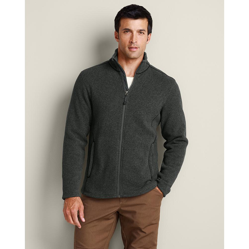 Entertainment Eddie Bauer Full-Zip Sweater Fleece - Our wind-resistant full-zip sweater fleece keeps you comfortable while active and can be worn on its own or as a layering piece. Heathered fabric. Stand up collar. Secure handwarmer pockets. Active fit. Imported. - $44.99