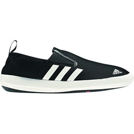 Ski From evening water ski sessions to coastal sailing excursions, pull on the Adidas Men's Boat Slip On DLX Shoe for a grip you can trust on slick surfaces. Elastic inserts and a heel pull tab make these lightweight kicks easy to slip on and off while the sticky Traxion rubber grips backyard decks, boat decks, and everything in between. - $53.96