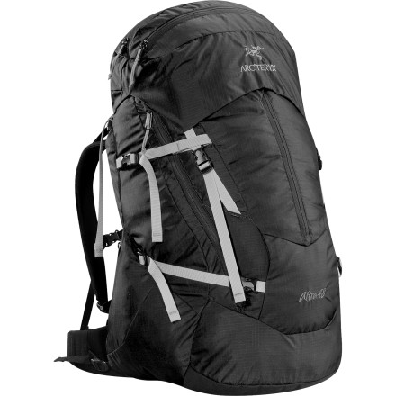 Camp and Hike The Arc'teryx Women's Altra 48 Backpack rests comfortably on your hips and shoulders from the trailhead through arduous scrambles and all the way to the perfect camping spot in a lush valley. This pack has enough gear space for one, two, or three-night backpacking trips, and it features a C suspension system that keeps weight to a minimum while providing stability and comfort. - $288.95