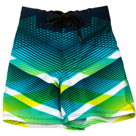 Surf Keep him comfy from his first strokes to his first time on the diving board in the Billabong Transverse Toddler Boys' Board Short. The four-way stretch fabric won't hold his legs back while he doggy-paddles his heart out across the shallow end of the pool. - $44.51