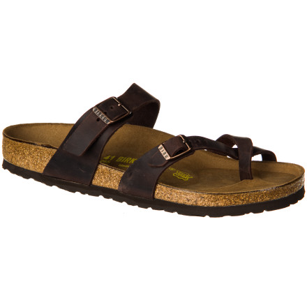 Surf Saturday morning farmers' markets, summer sidewalks, and backyard cookouts all call for the relaxed style and incredible comfort of the Birkenstock Women's Mayari Oiled Leather Sandal. In addition to providing complete arch support and encouraging correct posture, the suede-lined cork footbed molds, over time, to the shape of your foot for a fit and feel that is truly one of a kind. - $95.96