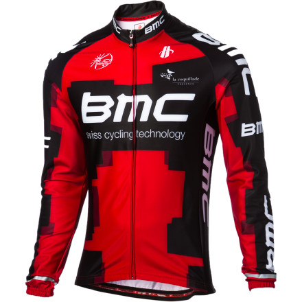 Fitness In 2012, Allesandro Ballan was the lone member of the BMC Racing Team to podium at any of the Spring Classics, taking third at both the Flanders and Roubaix. And to aid him in his quest, the BMC Veloz Long Sleeve Jersey was supplied to Ballan and BMC for both training and racing in harsh spring conditions. Combining warm fabrics and a body-contouring fit, it's certainly worthy of a spot in your own cold-weather rotation. BMC's Veloz long sleeve jersey is made from the super SuperRoubaix fabric -- an up-to-date version of the fleece-backed Lycra/nylon fabric that's kept classics riders warm for years. SuperRoubaix's lofted interior ensures excellent insulation and moisture management. Also, its Lycra content allows it to conform to the body's shape, ensuring an aerodynamic and supportive fit. You'll also find that finishing touches abound on the Veloz Jersey. A fully hidden zipper keeps the wind out, reflective accents on the sleeves ensure that passing motorists can see you in low-light conditions, and three rear pockets give you ample room to stash your essentials. And of course, the graphics clearly display your BMC allegiance. The BMC Veloz Long Sleeve Jersey is available in one color and in five sizes from X-Small to X-Large. - $34.61