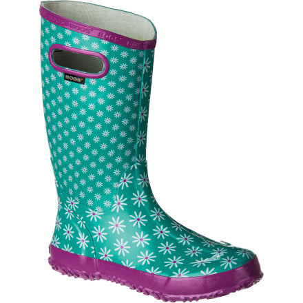 Before teaching your little lady the finer points of puddle-jumping, set her up with a pair of Bogs Girl's Rainboots and let the splashing commence. The lightweight design is perfect for warm summer days, and the large integrated handles allow her to easily pull the boots on and off. - $49.99