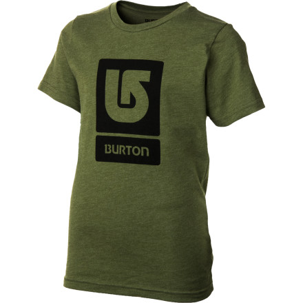 Snowboard The Burton Boys Logo Vertical T-Shirt breathes well, and its short sleeves will never hinder your ability to throw imaginary lightning bolts. - $17.95