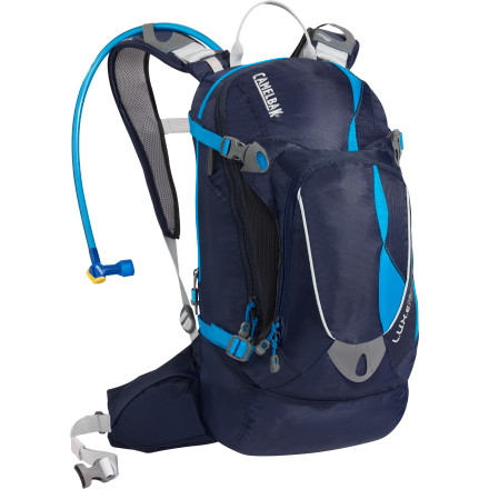 Fitness The Camelbak Women's L.U.X.E. Hydration Pack is Camelbak's hot weather champ, with special cushioned pods that hold the pack away from your skin. The huge three-liter reservoir carries enough water for three or more hours in the saddle. If you're planning a long ride, you'll need a lot of water. The L.U.X.E. NV can carry what you need. The L.U.X.E. NV is also equipped with a women-specific harness and NV back panel design. This means more comfort in an ergonomically correct fit, essential when you're on your bike for a couple hours or more. The NV back panel uses articulating pods that hold the pack away from your back to allow air to flow freely between the pack and your skin. A removable rain cover keeps the contents of your pack safe in case of a sudden unexpected squall. Stretch overflow storage, a media pocket, a bike tool-specific pocket, and convenient waist belt pockets make for easy organization and put your things right where you need them so you can get to them in a hurry. - $134.95