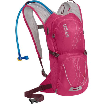 Climbing The phrase 'less is more' has been around much longer than mountain biking, but there really isn't another activity to which it better applies. To an extent, the less you pull up the climb with you, the better off you'll be. Weight equals fatigue. While not entirely minimalist, the Camelbak Women's Magic Hydration Backpack illustrates this point. Able to carry 70 ounces of water, an extra layer, a snack, keys, a phone, your MP3 player, and a multi-tool, the rugged, utilitarian Magic Hydration Pack discourages on-trail gear gluttony. The Magic has plenty of storage for most training rides around two hoursthat's probably 10 to 15 miles, depending on terrain and skill level. We're willing to bet that's about 75% or more of your weekly rides. That's a pretty healthy majority of your riding, and at just one pound, the Magic takes care of that quite efficiently. Women-specific harness with 3D mesh for breathability and ventilation Velvetex harness lining is ultrasoft and comfortable against the skin Shorter torso length for a woman's specific body shape, also sits above jersey pockets Multiple access points allow you to get into the pack easily to grab what you need Tough, lightweight 70D and 140D Dobby fabric with 1000mm water-resistant polyurethane treatment New Antidote reservoir includes a lightweight, quick-seal cap, folding arms on the port to speed drying, and baffles in the body that allow the reservoir to maintain a lower profile when full New Quick Link system in reservoir allows you to quickly snap off the tube for cleaning and easily attach accessories like filters, flow meters, and insulated tubes HydroGuard anti-microbial technology inhibits bacterial growth on reservoir and tube surfaces Ergo Hydrolock shut-off valve allows you to control water flow and prevents leaks Dual back pockets for storage and organization Bike tool organizer pocket Stretch overflow pockets for extra gear Convenient external fill hydration system - $84.95
