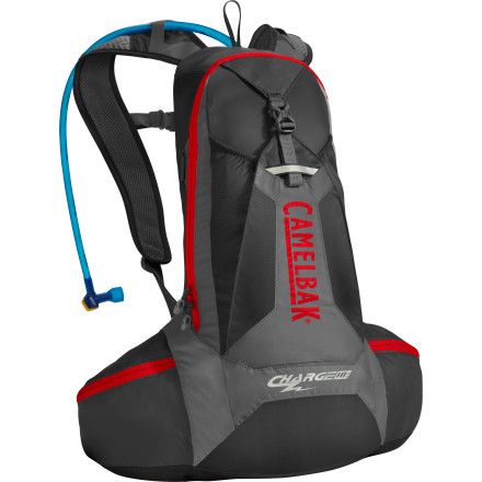 Fitness The Camelbak Charge 10 LR Hydration Pack puts the majority of the pack weight where it should be carriedon your hips. The two-liter reservoir is good for two to three hour rides, and the large pocket has plenty of room for gear and tools.The most important design aspect of the Charge 10 LR Pack is its lumbar reservoir system, which keeps your water (the majority of your pack weight) on your hips for comfortable, efficient carry. The upper area of the pack carries 500 cubic inches of gear, so you can carry lunch and an extra layer along with your usual tools and tube. Lightweight LV back panel with vertical ventilation channels that allow your back to breathe Tough, lightweight 40D, ripstop, 230 D taffeta, and 210D nylon fabric with 1000mm water-resistant polyurethane & silicone treatment New Antidote reservoir includes a lightweight, quick-seal cap, folding arms on the port to speed drying, and baffles in the body that allow the reservoir to maintain a lower profile when full New Quick Link system in reservoir allows you to quickly snap off the tube for cleaning and easily attach accessories like filters, flow meters, and insulated tubes HydroGuard anti-microbial technology inhibits bacterial growth on reservoir and tube surfaces Ergo Hydrolock shut-off valve allows you to control water flow and prevents leaks Bike tool organizer pocket Stretch overflow pockets for extra gear - $109.95