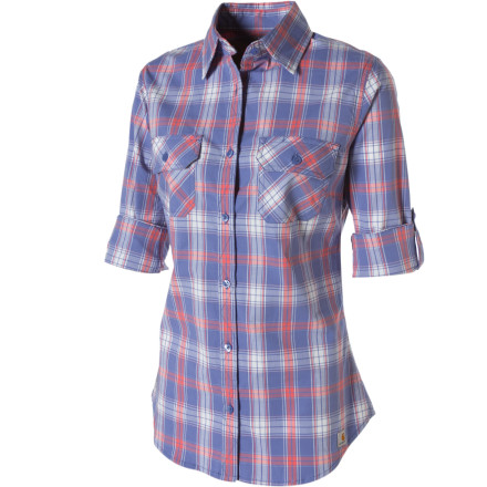 Even when the mercury climbs and the humidity spikes, you're looking cool and crisp in the Carhartt Women's Roll-Up Plaid Shirt. This handsome yarn-dye plaid shirt features three-quarter sleeves that fold up and button down to expose more skin in warm weather. Front darts enhance the shirt's a feminine fit, while a touch of spandex in the cool cotton not only makes it more comfortable to wear, but means it's going to come out of the dryer ready to roll. - $20.98