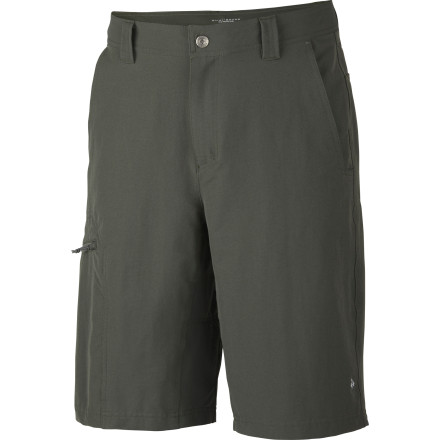 Camp and Hike Reach that high foothold or make that wide-legged leap over the creek in the durable canvas Columbia Men's Cool Creek Stretch Short. Omni-Shield water repellency protects you from drips and drops, while Omni-Shade fends off harmful sun rays. Bad weather, hot sun, or restrictive clothing: say good-bye to old excuses. - $37.46
