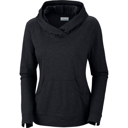 Fitness When comfort is at the top of your priority list, pull on the Columbia Women's Rocky Ridge II Hooded Shirt. The soft cotton blend has generous stretch so you can comfortably sprawl out on the couch or pedal your bike downtown, and the kangaroo-style pocket warms up your hands as temperatures fall later in the evening. - $39.95