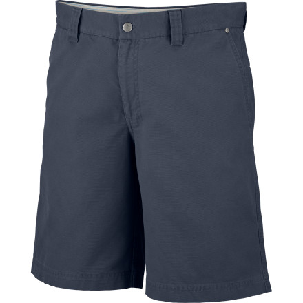 Fitness Soft, smooth, stonewashed cotton is as beautifully basic as it gets, and the rugged Columbia Men's Roc II Short puts some brawn in this staple with UPF 50 sun protection. And its modern, movement-allowing fit and a zippered security pocket let you run amok without having a yard sale. - $29.95