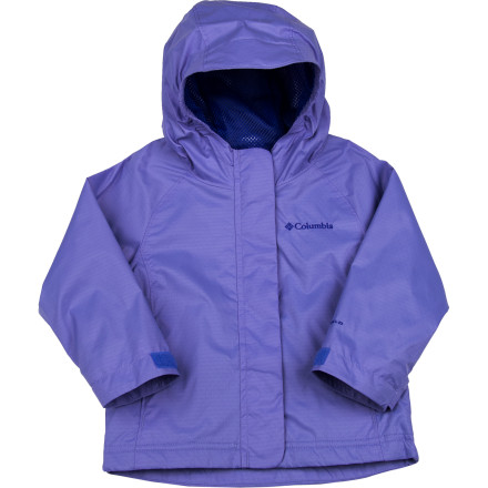 No fair-weather fun-hog, your mini nature-lover frolics in the rain in the Columbia Toddler Girls' Adventure Seeker Jacket. Armed with Omni-Shield advanced repellency and an adjustable storm hood, this jacket will give her ample shelter so she doesn't have to wait out the weather. A wicking mesh lining keeps her dry and cool as she works up a sweat. - $34.95