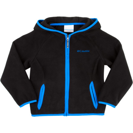 Even though your little guy is knee-high to a grasshopper, he still deserves the soft warmth of the Columbia Toddler Boys' Fast Trek Fleece Hooded Jacket. The polyester microfleece is soft against sensitive skin and the integrated thumb holes keep the sleeves from riding up when he's pedaling his trike around the drive way. - $26.21
