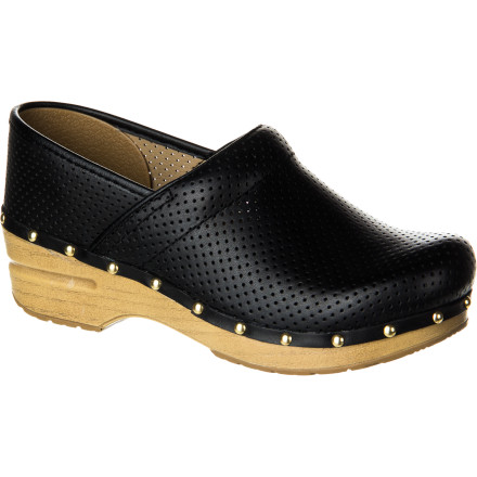 You're on your feet, walking the walk, with places to go and people to see; you find all-day, easy comfort in the Dansko Women's Perfed Pro Clog. Made from perforated faux leather and supported by a durable polypropylene midsole and polyurethane rockered sole, your foot will be in cradled and energized from first step to last. - $129.95
