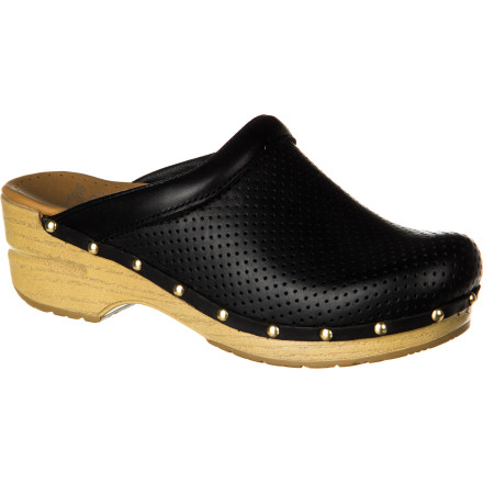 The faux leather Dansko Women's Perfed Sonja Clog gives you a vegan option in a high-quality shoe. Tons of shock absorption from its contoured polypropylene midsole, foam-cushion insole, and sure-footed outsole let you stand, walk, or hustle all day long, for days on end. - $124.95