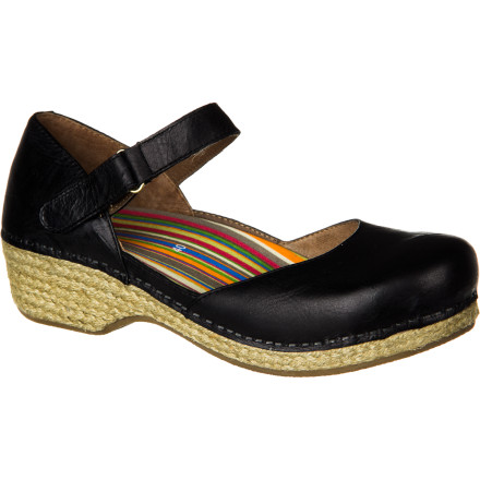 With the all-day comfort of a clog in the form of a feminine strappy shoe, the Dansko Women's Jute Maryjane Clog combines classy style and durable support. A full-grain leather upper and jute-wrapped bottom can go from a picnic in the park to an uptown dinner. And the roomy toe box, rocker sole, and Dansko's legendary wearability allows for nonstop fun. - $95.96