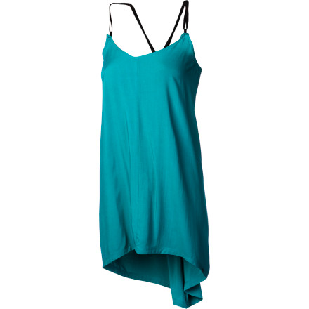 Entertainment The strappy, high-low DC Women's Arya Dress with V-neck and vertical seams does everything in its power to showcase your summertime curves. And the adjustable straps let you find just the right coverage, or exposure. - $28.00
