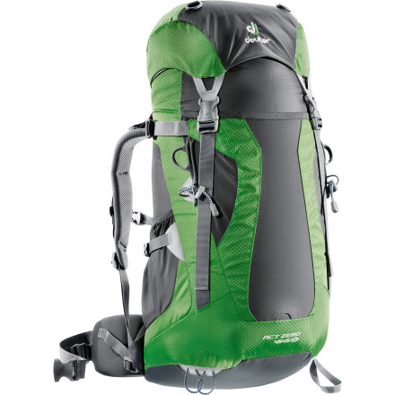 Camp and Hike Strap on the Deuter Women's ACT Zero 45+15 SL Backpack for light, fast ascents or long, scenic excursions. Its AirContact back system improves airflow for more comfort and less perspiration, while the VariQuick mesh-covered, anatomically cut harness ensures precision fit for stable cargo transport and better balance when the trail gets treacherous. A flexible aluminum X-shaped frame smooths out the ride, whether fast and furious or long and steady. - $185.00