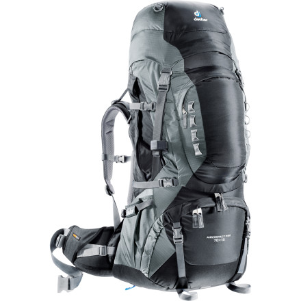 Camp and Hike No-resupply expeditions require lugging an expanded backcountry kit, and the Deuter Aircontact Pro 70+15 Backpack is the undisputed heavyweight-hauler. With the Aircontact Pro system'featuring tons of breathability and anatomically cut cushioning'and an adjustable torso and V-shaped aluminum frame, this pack sits comfortably on extra-long treks and across treacherous terrain. Its extended capacity of 85 liters includes two large pockets for your reservoirs to keep you hydrated and hauling. - $339.00