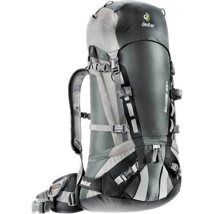 Ski Head for the hills with the Deuter Guide 45 Backpack, with carrying capacity for all the necessary gear for your climbing, skiing, or mountaineering expedition. Wide-ski straps for your powder boards, gear loops and attachment points, plus super-handy top, bottom, and side access make this pack a multisport wonder. And this take-it-all carrying capacity won't slow you down, harnessed with a pivoting, anatomically cut hipbelt, aluminum X-frame, and sweat-reducing Alpine back system. You'll stay so sure-footed and balanced on uneven terrain, you won't even feel the weight. - $179.00