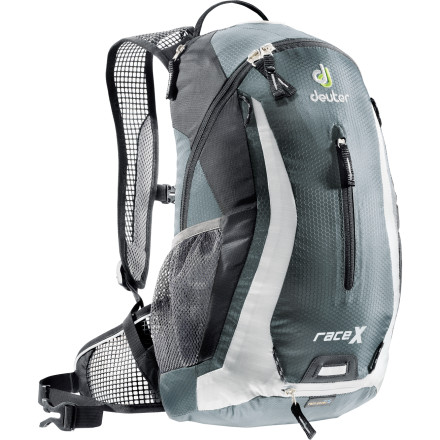 Climbing Ride with the wind at your back, literally, with the super-ventilated Deuter Race X Backpack, made for rides, hikes, or anything on-trail that makes you sweat. Dual foam stripes with air channel and cooling AirMesh lining keep your back cool and comfy, and mesh shoulder straps and hipbelt extend that cool comfort to your frontside. A zippered hydration sleeve, ample space for your gear and snacks, plus a rain cover round this pack out to be one light, fast, cushy carrier. - $69.00