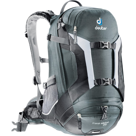 Climbing Whether you're jumping on the bike for a 30-mile cross-country ride or hiking your favorite trail systems, the Deuter Trans Alpine 25 Backpack will handle your gear. The internal aluminum support stays can be bent to precisely fit the shape of your back while the Airstripes suspension system provides maximum ventilation. A bottom access compartment allows you to separately stow muddy gear, and the integrated rain cover ensures your pack will stay dry if you get caught in a storm. - $83.30