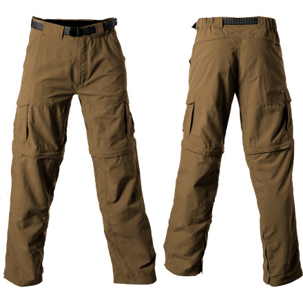 Camp and Hike Transform the Ex Officio Mens Nio Amphi Convertible Pants from pants to shorts at a moment's notice. And when you're faced with a dewy morning hike, a water-and-stain resistant fabric treatment keeps you dry by repelling moisture. Lightweight nylon material makes these pants easy to pack for travel and comfortable for even the hottest summer days. As icing on the cake, UPF 30 protection blocks harmful UV rays so you don't have to sweat that hole in the ozone quite so much. - $84.95