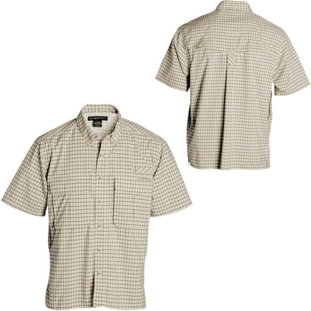 Once the single-engine craft lands on the dirt runway, you assemble your team of scientists and anthropologists under the wing. Of course, during your debrief, all eyes are on you and your ExOfficio Air Strip Micro Plaid Shirt. - $84.95