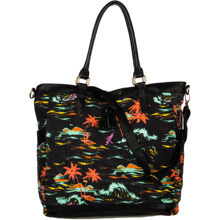 Surf Spring is in the air, so show off your excitement with the Hurley One & Only Tote. The printed cotton canvas fabric gives it a summery vibe and its spacious main compartment will carry all your essentials well into beach season. - $44.96
