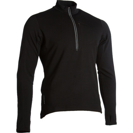 The midweight Icebreaker Men's GT 260 Quantum Long-Sleeve Zip Top keeps you warm under your shell without making you sweat. Vented underarms, a front zip, and super-breathable merino wool let your body regulate its core temperature to keep you comfortable and performing at the top of your game. - $44.99