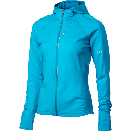 Camp and Hike The high-performance Icebreaker Womens Quantum Full-Zip Hooded Jacket hugs you from the top of your head to the bottom of its hem in merino-wool soft, breathable goodness. Warm yet cool, dry, and odor-resistant, merino wool outperforms synthetics year 'round. Whether on a hike, run, or boating trip, this top with underarm mesh gussets and thumbholes will keep you optimally comfy and smelling as fresh as can be after all that work. - $189.95
