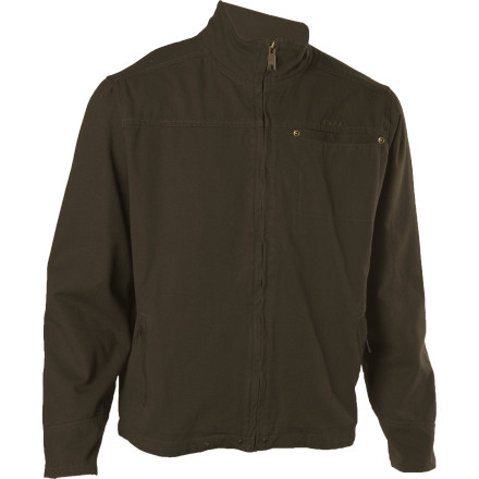 The Kavu Men's Ketch-a-can Jacket might have a utilitarian, tough appearance, but under the collar and cuffs lies some very soft fleece. This means your chin, neck, and wrists can luxuriate in fuzzy, secret warmth. Kavu made the Ketch-a-can Jacket with comfortable cotton fabric and antique-brass zippers and rivets. Throw this casual jacket on over a sweater or long-sleeve shirt in the fall. - $39.98