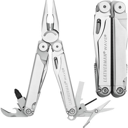 Fitness The Leatherman Wave Wave Multi-Tool knows it doesn't pay to mess around when you're fixing things. You can botch something up, or you can use the right tools for the job. Chances are the Leatherman Wave includes the right tool. Two sizes of bit driver, powerful pliers, and big locking blades continue the tradition of reliability that made the Wave Leatherman's most popular full-sized multi-tool. The Wave's bit drivers can accept most standard hex bits so you can tailor your Wave to your needs. For backcountry repairs and general around the house use, the Wave is a smooth ride. - $79.85