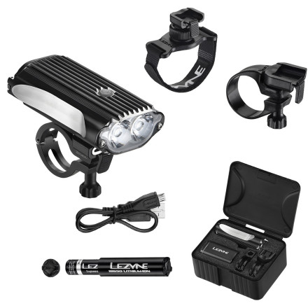 Fitness Since you found yourself here, we're going to assume that you need the brightest, most-dependable front light available. So, how does 1000 lumens sound' Basically, this is as bright as a car's high beams, and it's what the Lezyne Mega Drive Loaded Front Light can deliver for over an hour. And with this level of power, there's no root, rut, or broken bottle that will escape your field of vision. The most obvious difference between the Mega Drive and other lights is the CNC-machined aluminum body. In the event that you take a spill (not hard to do on a trail at night), the Mega Drive can handle it. The machined aluminum body also dissipates heat, which has a tendency to damage Li-ion batteries over time. And for the sake of being real, it also looks really good. You might downplay the importance of style, but let's face it, you don't want to hang some cheap, plastic gumball-machine headlight on your carbon race machine. The Mega Drive now has a redesigned power button that increases the headlight's water- and weather-resistance. How' Well, the new power button hides the Green and Red LED's that allow you to monitor battery level without losing a pedal stroke. When the headlight is on, the indicator (located on top of the light housing) will be either Green, Red, or flashing Red to indicate power level. Lezyne's Infinite Light feature is another innovation that adds versatility and usability for endurance riders, 24-hour racers, or anyone planning to out-ride the battery's burn time. But, if you burn out your battery, just pop it out and slide in a fully-charged Li-ion. It sounds simple, but it's a rare feature among trail lights. Additionally, it allows you to ride as long as you want, depending on the number of backup-batteries that you decide to carry. Battery conservation is further enhanced through the new Standard and Race mode features. Basically, selecting either mode allows the light to optimize power for the ride setting. - $174.95