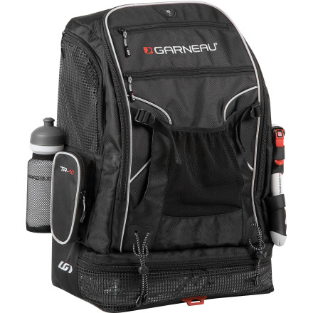 Fitness Getting your gear to transition should be as seamless as the transition itself. Louis Garneau designed the TR-40 Backpack specifically for this. It's loaded with triathlon-specific features to keep your gear organized and ready for use at a moment's notice. The large main compartment is easy to access via a wide zipped closure and features dividers to keep gear separated. On the outside of the TR-20 is mesh pockets for wet gear, and straps to attach your helmet to. For comfort, the pack has an ergonomic back with ventilated zone and padding. The straps are also ventilated and they're adjustable for comfort. The waist band is removable and there's an elastic sternum strap to help keep the pack from migrating. The TR-40 is constructed out of 1680D fabric that's very durable and tear resistant. Louis Garneau hits the pack with reflective elements and a rear light tab for low-light safety. - $99.95