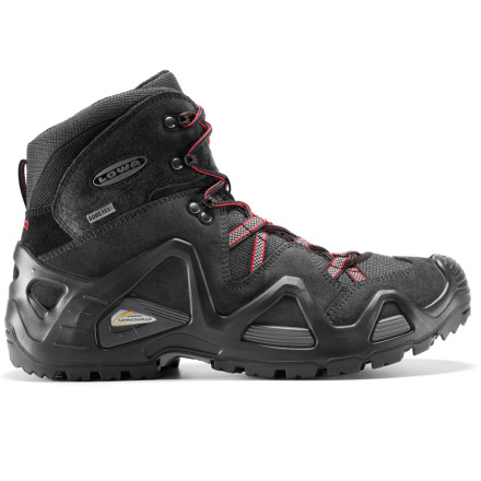 Camp and Hike Lightweight and nimble, the Lowa Mens Zephyr GTX Mid Hiking Boot provides sturdy support and waterproof breathable protection in any weather. Lowe incorporated its new Monowrap midsole, which makes the Zephyr extra stable without weighing you down. In combination with its moderately stiff \276 shank, this boot flexes yet provides the support you need to carry up to 25 pounds. The waterproof Gore-Tex liner is especially designed by Lowa to reduce friction and hot spots inside the boot for dry, blister-free comfort mile after mile, even right out of the box. - $155.96