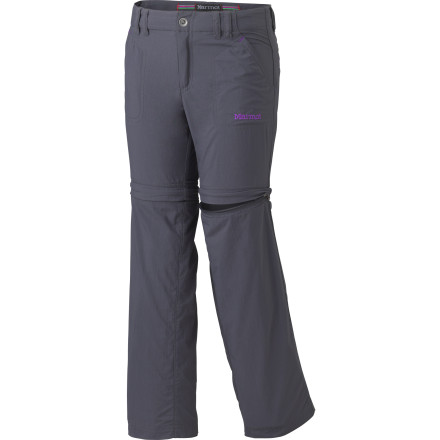 Even during the summer months, weather in the mountains can go from balmy to frigid in mere minutes. Make sure your daughter is prepared for variable conditions with the Marmot Girls Lobo's Convertible Pant. In addition to the versatility provided by the zip-off pant legs, the nylon fabric has a DWR finish that shrugs off wet weather and a gusseted inseam panel that ensures complete mobility out on the trail. - $49.95
