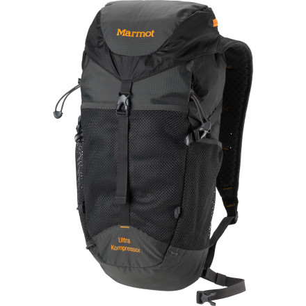 Camp and Hike The Marmot Ultra Kompressor Backpack steps it up a notch in the world of ultralight backpacks. Compression-molded Airmesh shoulder straps and closed-cell foam back sheet add padded comfort and support, and a sternum strap and waistbelt transfer the load to reduce back and shoulder pain and strain. If you want to go ultra-light, leave the back sheet and waist-belt at home. Use the compression straps for a lean profile meant for speed; keep up the pace up by staying hydrated with your reservoir nice and snug in its designated sleeve. - $88.95