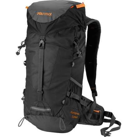 Camp and Hike Marmot designed the Kompressor Summit Backpack for serious wilderness go-getters seeking a balance between lightweight packability and multi-season durability. This backpack weighs in at under two pounds and uses a multiple small-storage options and versatile packing capabilities to ensure a well-balanced, well-organized load. - $118.95