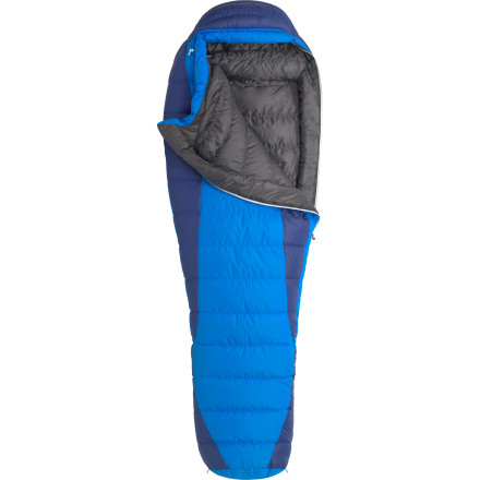 Camp and Hike The Marmot Sawtooth 15 Degree Down Sleeping Bag weighs just three pounds; that's a mere pound for each of the three seasons you'll be camping in. Compact, lightweight, and insulated by lofty 650-fill down insulation, the Sawtooth helps you slumber soundly spring through fall. A host of features like a down-filled collar, five-baffle hood, roomy, trapezoidal footbox, and draft-stopping zipper tube add further to the overall comfort during the more mild months. The Sawtooth features a mummy shape that offers plenty of room at the shoulders before tapering down at the feet to keep insulation closer to your toes. All in all, this version of the Sawtooth is ideal for three-season backpacking in dry climates and conditions, and it offers tons of warmth and a host of fit, function, and comfort features at an incredible value. Backpackers or campers who live in wetter climates might want to consider the waterproof protection offered by Marmot's Sawtooth MemBrain Sleeping Bag. - $183.16