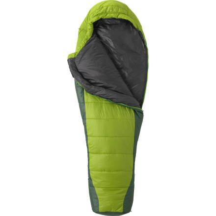 Camp and Hike The Marmot Cloudbreak 30 Degree Synthetic Sleeping Bag strategically places extra super-light and compressible Thermal R synthetic insulation at the body core and foot areas for efficient three-season warmth. A moisture-resistant shell protects all that toasty insulation while a draft tube, hood, and face muff fend off body-chilling drafts. Nearly as packable and portable as a down bag, the Cloudbreak gives you the advantages of synthetic construction, including added affordability. - $178.95