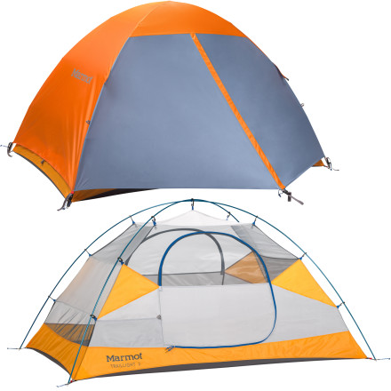 Camp and Hike The Marmot Traillight 2-Person 3-Season Tent with Footprint is a lightweight, durable, feature-packed shelter for two with enough interior space to let you move around and get out at night without disturbing your buddy. - $198.95